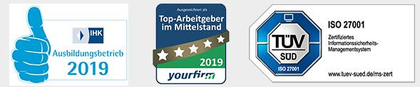 Footer Logos, Zertifikate, IHK Ausbildungsbetrieb 2019, Top-Arbeitgeber im Mittelstand 2019, yourfirm, ISO 27001