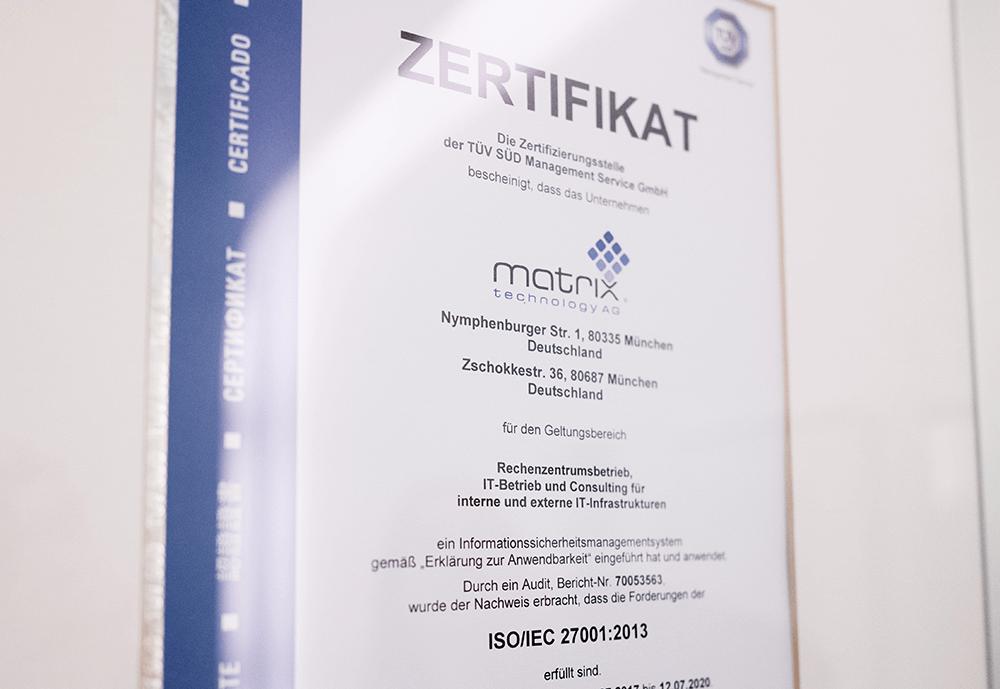 matrix Zertifikat ISO 27001