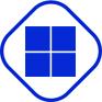 Microsoft Logo blau Raute