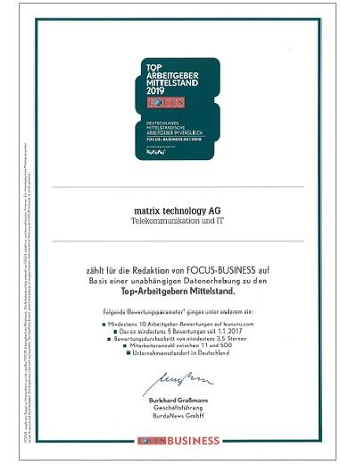 Zertifikat FOCUS BUSINESS, die Top-Arbeitgeber im deutschen Mittelstand, matrix technology AG